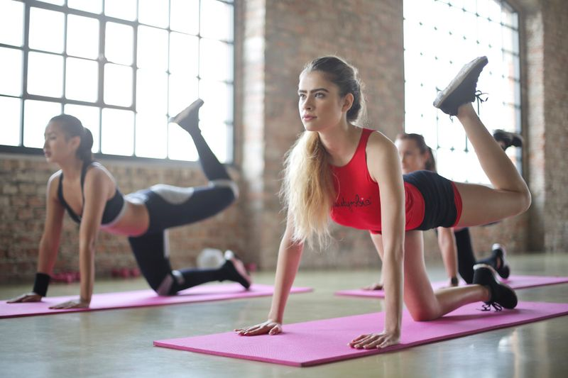 yoga pose on mat group class