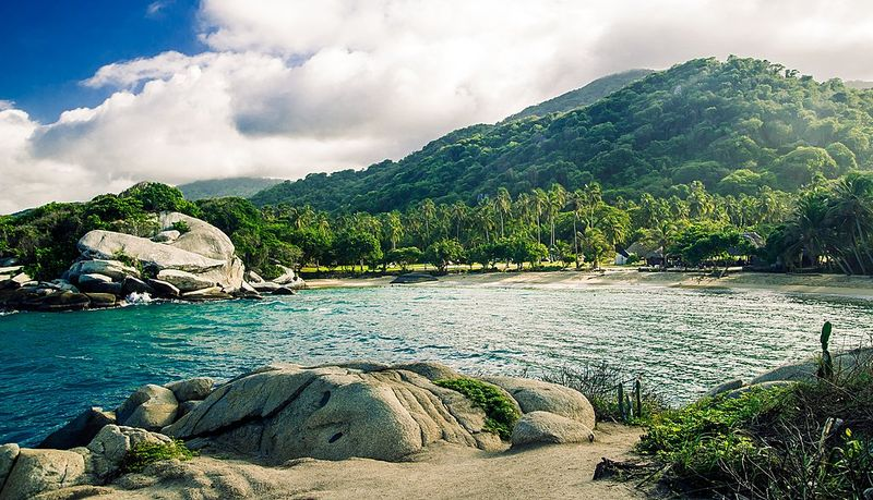 Rocky beach in Colombia