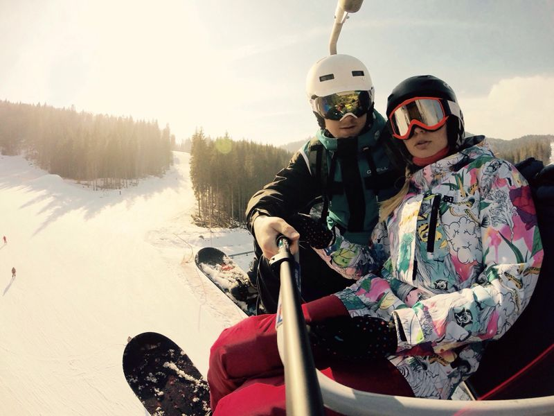 anna ivanovna and her husband snowboard