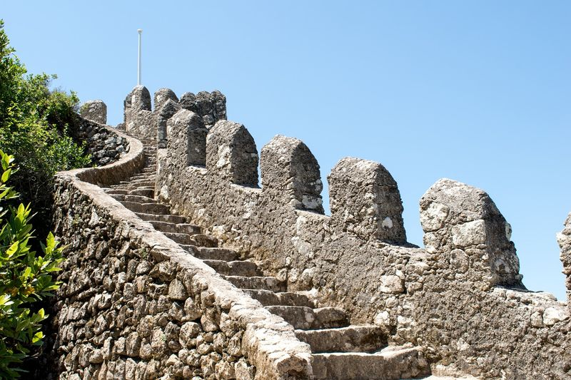 fragment of moorish castle wall in sintra