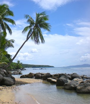 our family foodie trip at taveuni palms - walking and exploring the beach