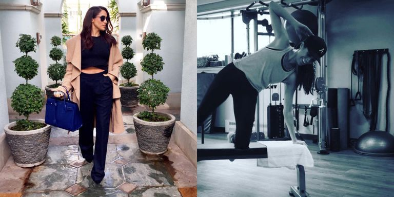 meghan markle yoga workout routine collage