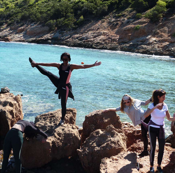 yoga stretch on top of the mountain in marathon greece