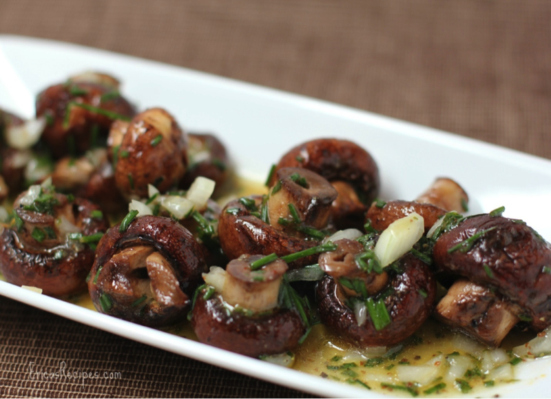grilled mushrooms in vinaigrette sauce