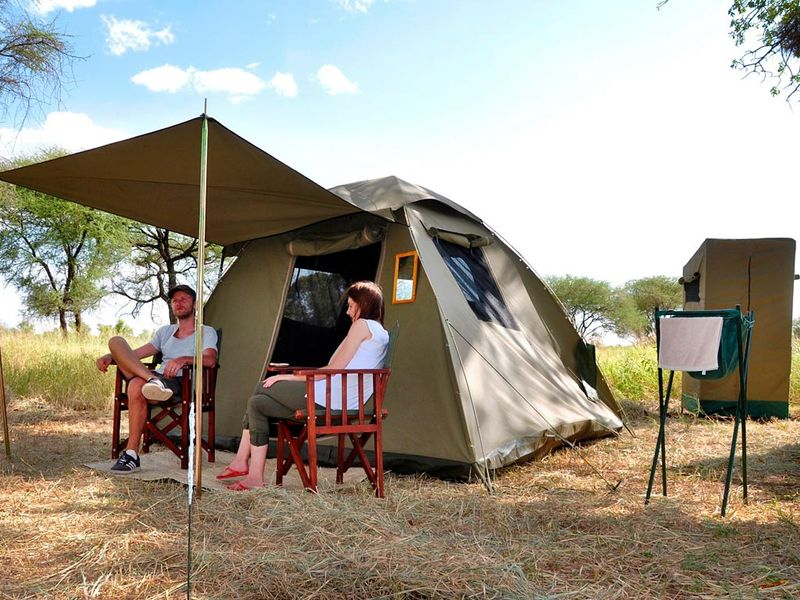 a tent in a designated campsite in africa