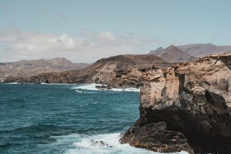 high cliffs at the sea in spain fuerteventura