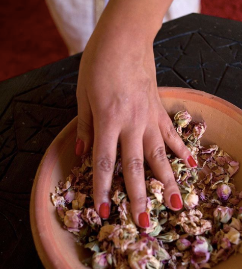 rose petals crushed by hand