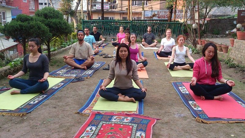 nepal yoga and meditation center group of people meditating