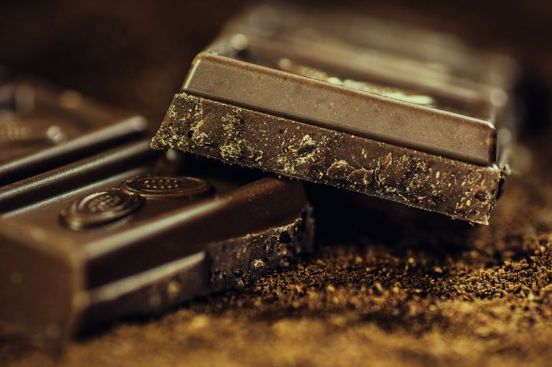 dark chocolate for breakfast close up