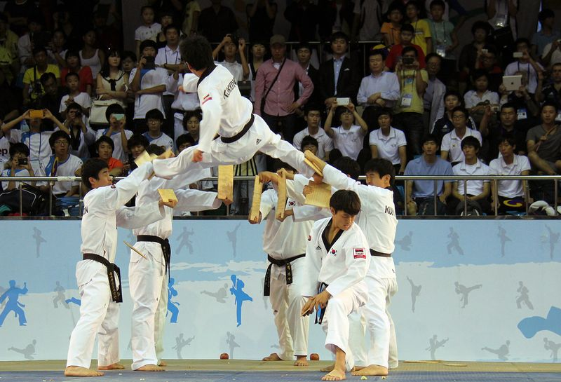 group of taekwondo fighters