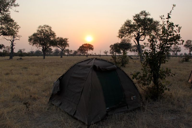 sunset in the camp in chobe, namibia