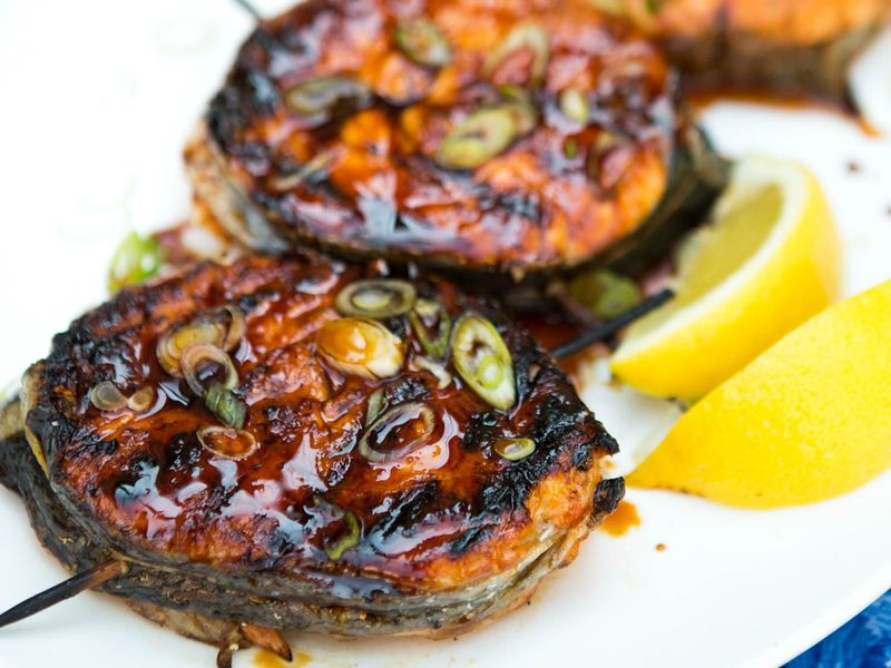 grilled salmon medallions