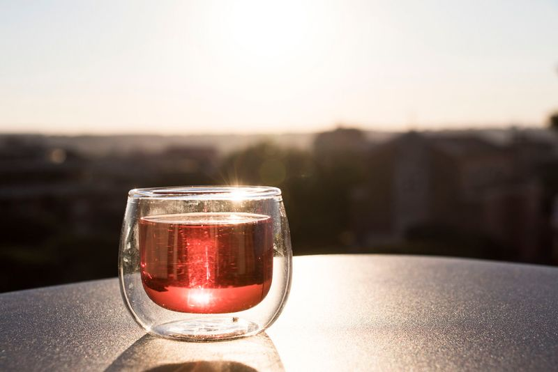 wine glass on a table outdoors