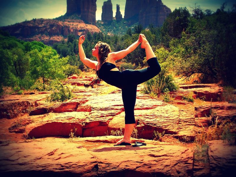 yoga in magnificent scenery