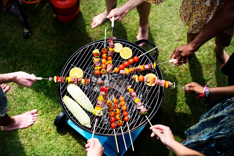 barbecuing with friends