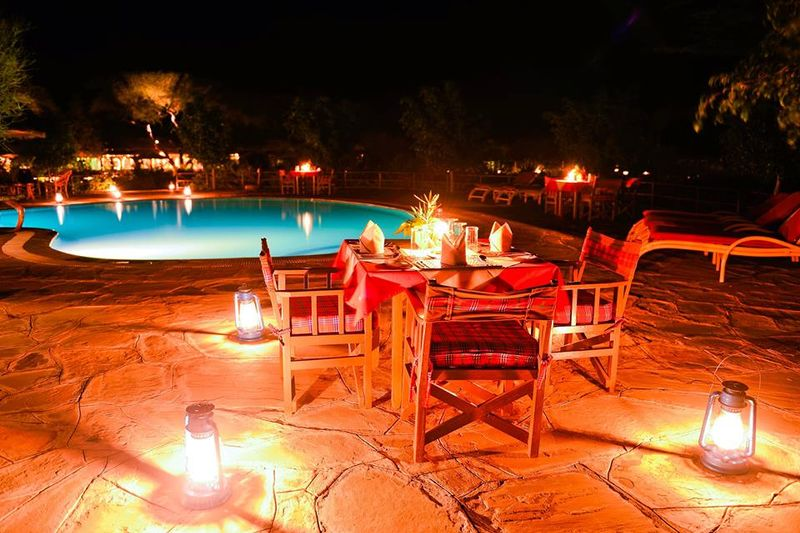 romantic dinner on a luxury camping safari in amboseli
