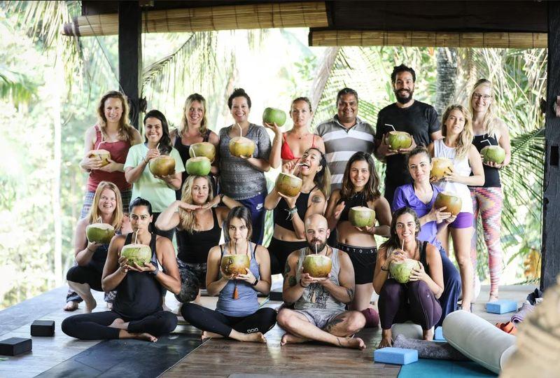 group of yoga teachers in bali
