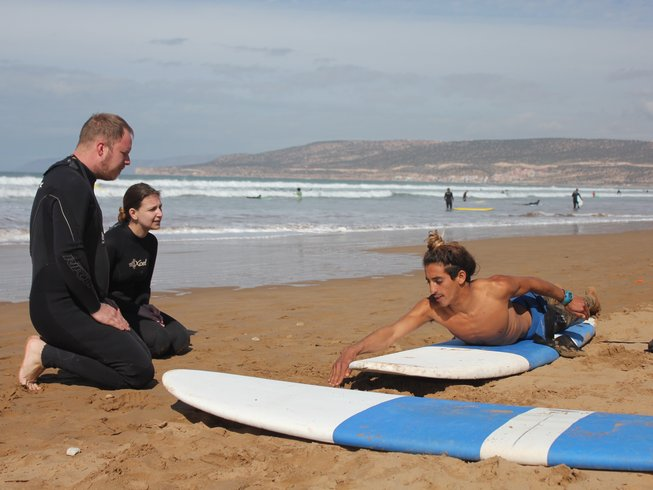 Surfing lessons at a beach