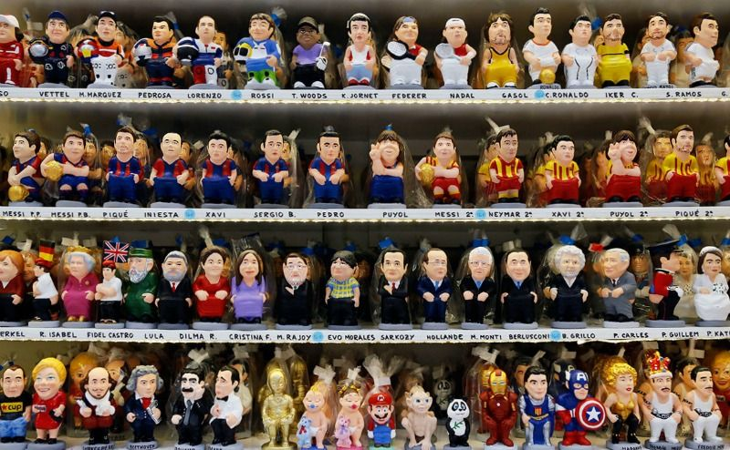 caganers of famous people in barcelona shop