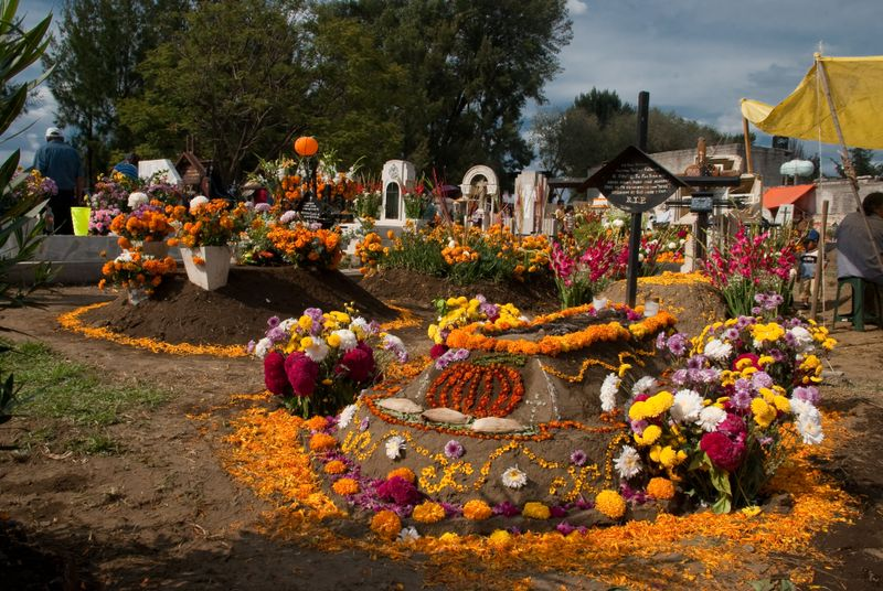 day of the dead at tecomitl cemetary