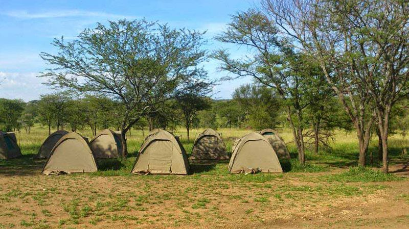 campsite in africa during an overland tour