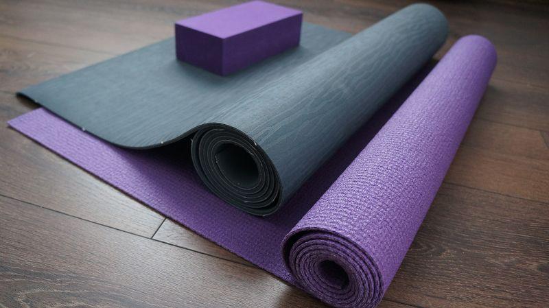 yoga mat and brick