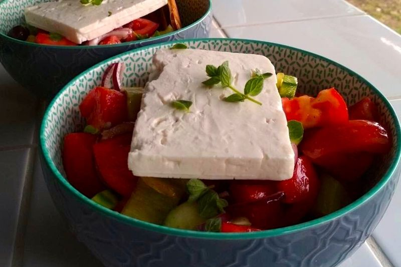 vegetarian greek salad on a yoga retreat