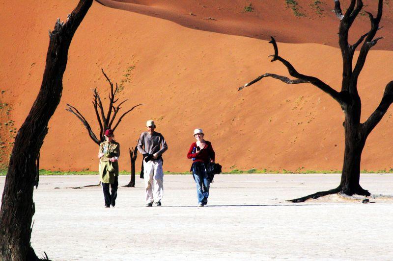 walking on a safari in namibia