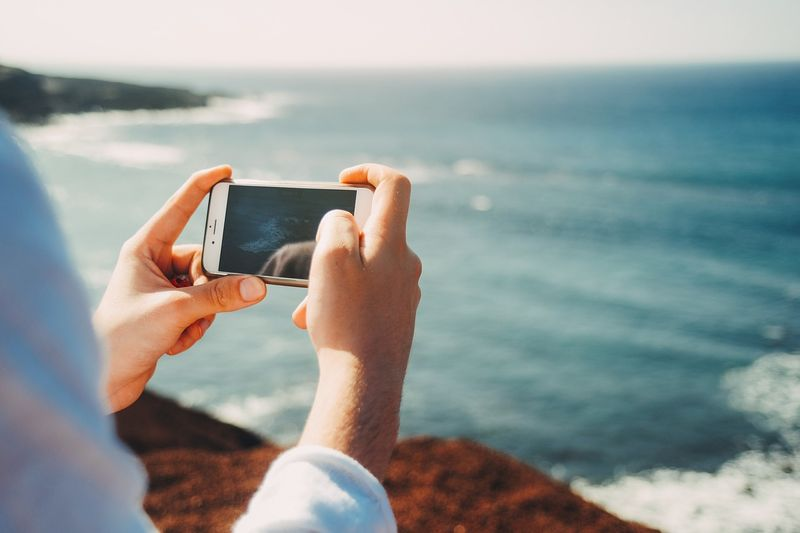 taking photos on a smartphone