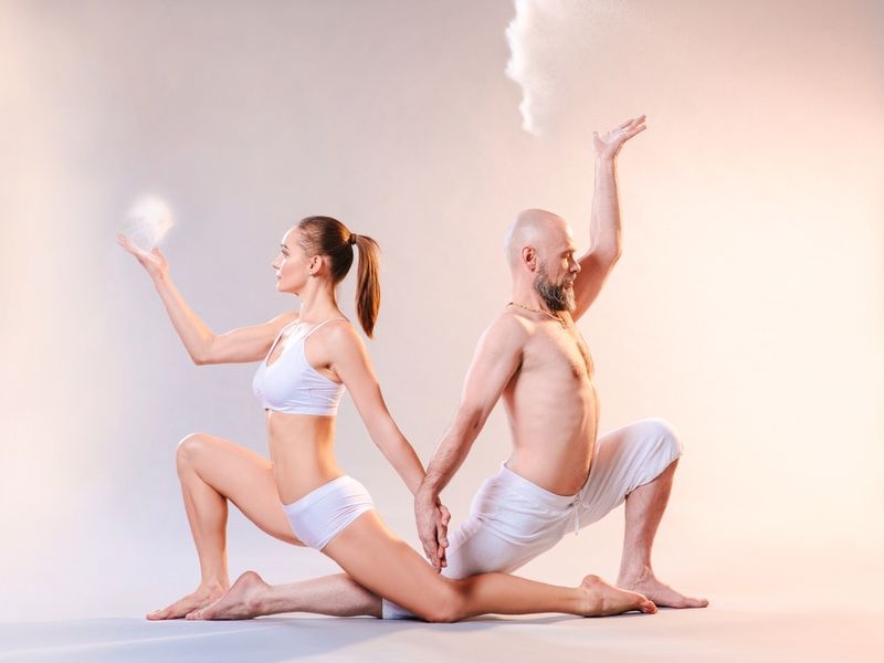 partner dancer yoga pose