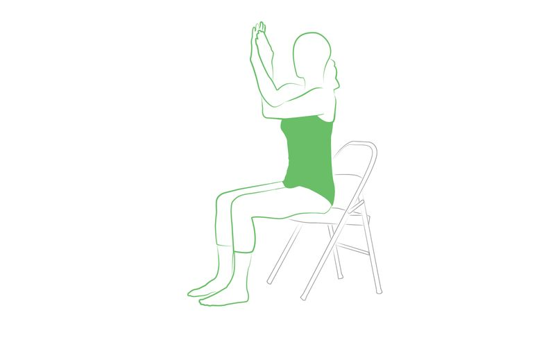 eagle arms yoga pose on the chair