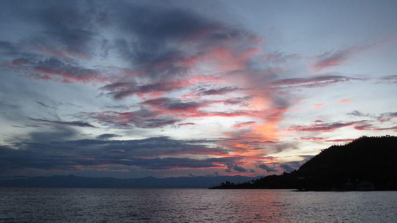 sunset at lake kivu