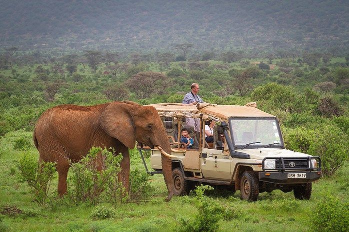 Open-sided jeep on a safari in Kenya