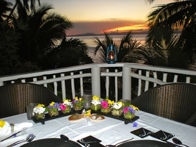 our family foodie trip at taveuni palms - culinary dining venue with table display