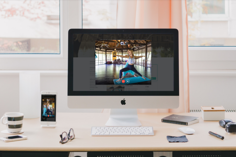 accessing online yoga teacher training with various devices