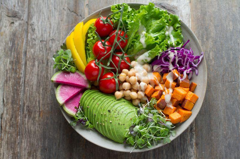 healthy salad with avocado