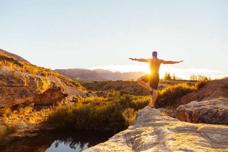 meditation in nature golden hour