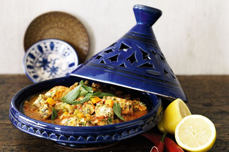 Moroccan tagine dish in blue tagine