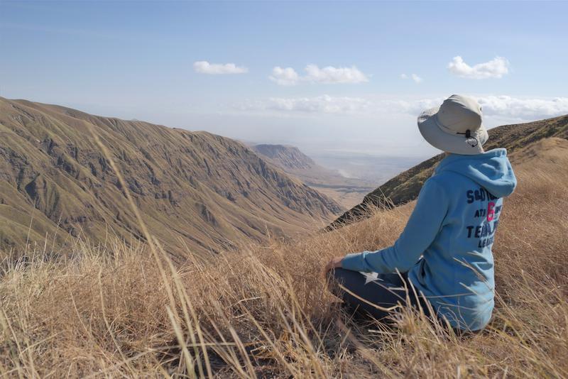 person meditating in tanzania
