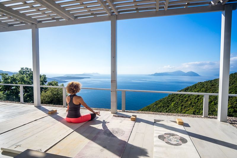 yoga by the sea in the ionian islands