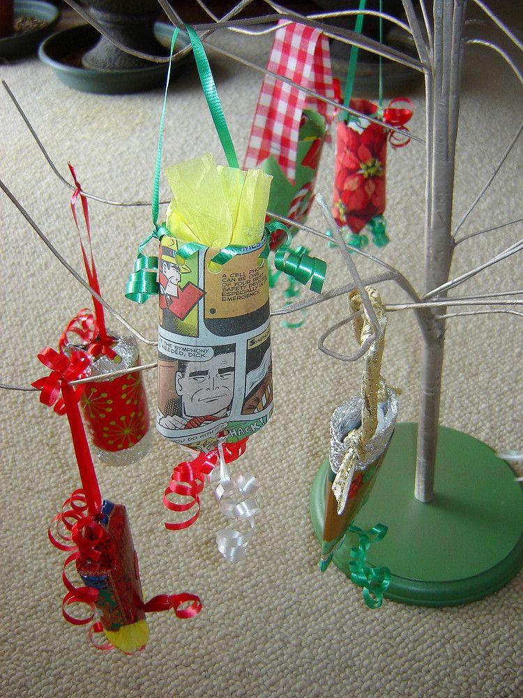 cardboard tube ornament holder