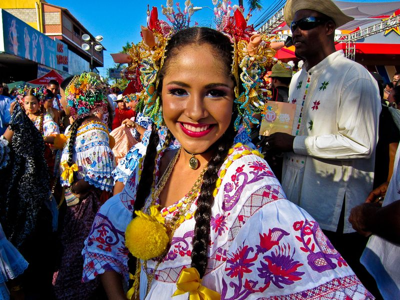 panama festival and celebrations woman in traditional garb