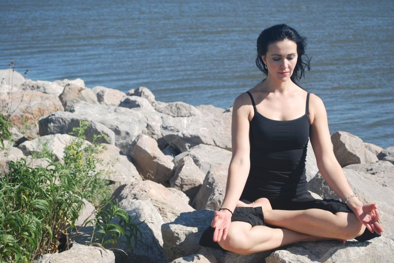woman meditating in california