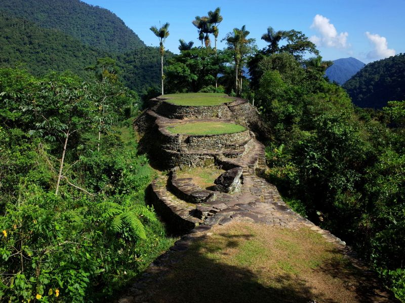 The Lost City stone terraces on top of the mountain
