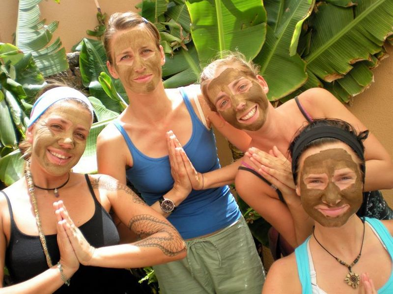 women with ayurveda face masks