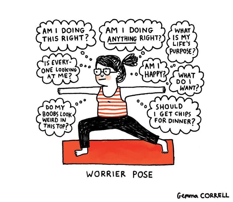 worrier pose cartoon