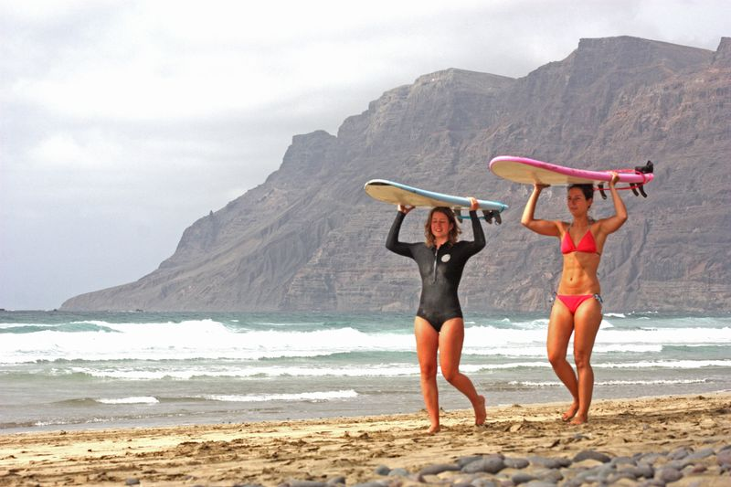 surfing in Lanzarote, Spain