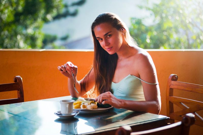 woman enjoying meal