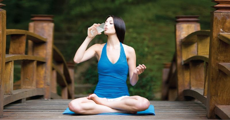 drink water with yoga