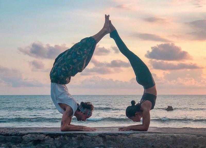 yoga training by the beach Bali